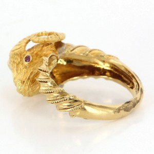18K Gold Diamond Ruby Ram Aries Cocktail Ring