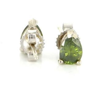 14K White Gold Green Diamond Stud Earrings