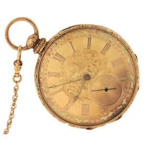 Girard Perregaux Floral Locle 18K 750 Yellow Gold Pocket Watch