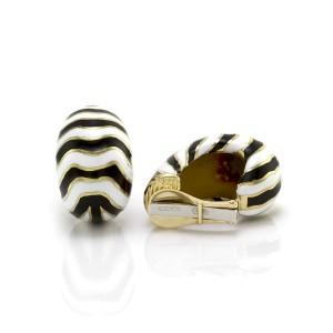 David Webb 18K Yellow Gold Kingdom Enamel Zebra Earrings