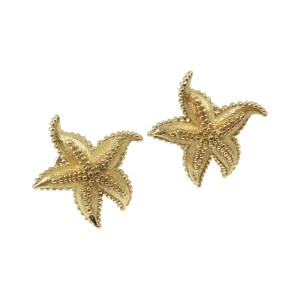 Tiffany & Co. 18K Yellow Gold Textured Starfish Earrings