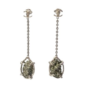 Chanel Dull Gold-Tone CC Pyrite Dangle Piercing Earrings  XX1006