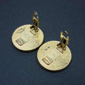 Chanel Gold Tone Metal CC Logo Earrings