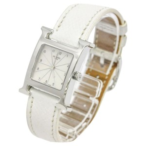 Hermes H Stainless Steel & Leather 21mm Watch
