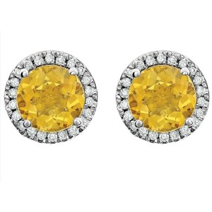 14K White Gold With 1.6ct Citrine & Diamond Halo Earrings
