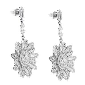 18K WHITE GOLD 10CT DIAMOND FLOWER EARRINGS