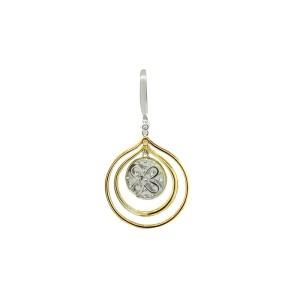 18K WHITE ROSE AND YELLOW GOLD DIAMOND EARRINGS