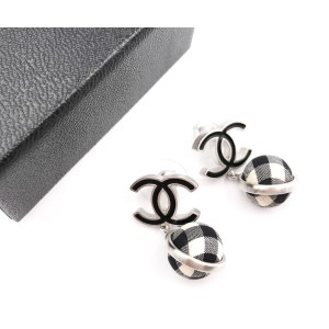 Chanel Black CC Gingham Cloth Dangle Piercing Earrings
