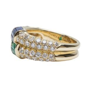 Van Cleef & Arpels YG Diamond Emerald & Sapphire Ring