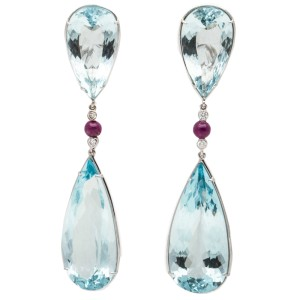 18K White Gold Aquamarine Diamond and Ruby Earrings