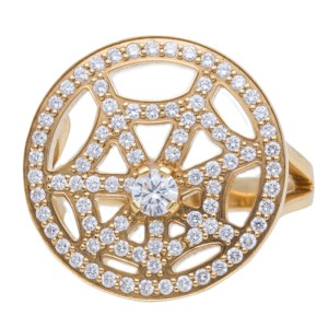 Chaumet 18K Yellow Gold Diamond Earrings and Ring Set