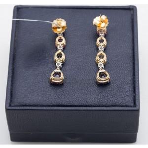 Bvlgari Hanging Diamond Sapphire Earrings Yellow Gold Platinum