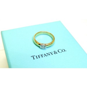 Tiffany & Co 18K Yellow Gold Platinum Etoile Diamond Solitaire Engagement Ring
