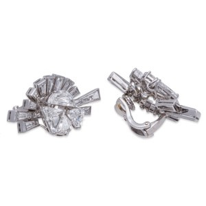 Fred Leighton 18K White Gold & 22.10ct Diamond Earrings