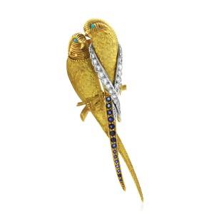 Van Cleef & Arpels Multi-gems 18K Yellow Gold Parrots Pin