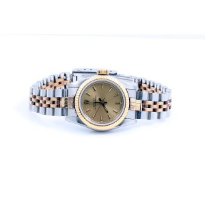 Rolex Oyster Perpetual 18K Yellow Gold & Stainless Steel Champagne Stick Dial 24mm Womens Watch