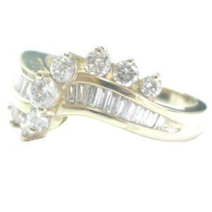 Fine Round & Baguette Diamond ByPass Yellow Gold Jewelry Ring