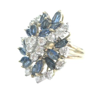 Fine Gem Blue Sapphire Diamond Cluster Yellow Gold Jewelry Ring