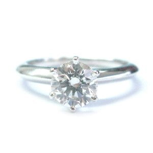 Tiffany & Co Platinum 1.03CT G-VS2 Round Diamond Solitaire Engagement Ring