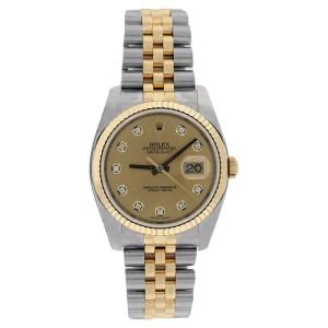 Rolex Datejust 116233GYDJ Stainless Steel & 18K Gold Champagne Diamond Mens Watch