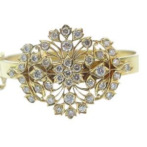 22K Yellow Gold  Diamond Flower Bangle Bracelet