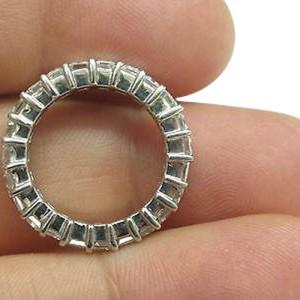 White Gold Emerald Cut Diamond Shared Prong Eternity Band Ring