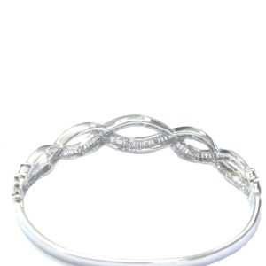 14K White Gold & Diamond Invisible Setting Bangle Bracelet