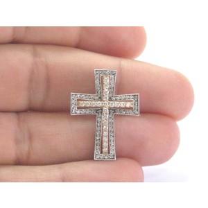 18K-14K 2-Tone Gold & Diamond Cross Pendant