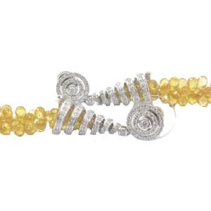 18K White Gold Yellow Sapphire & Diamond Drop Earrings