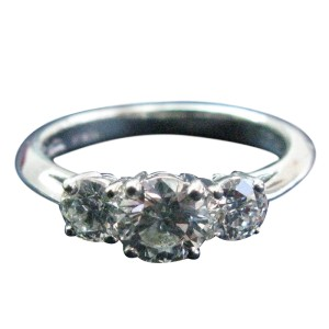 Tiffany & Co. Platinum 3-Stone Diamond Engagement Ring