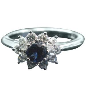 Tiffany & Co. Platinum Gem Sapphire Multi Shape Diamond Ring