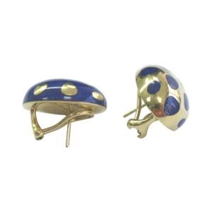 Tiffany & Co. 18K Positive Negative Lapis Yellow Gold Earrings