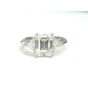Tiffany & Co. Platinum Emerald & Trillion Cut 2.65ct Diamond Engagement Ring