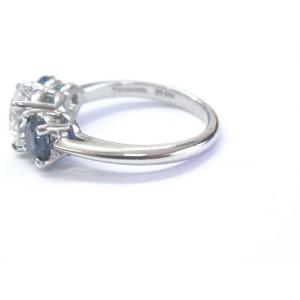 Tiffany & Co Platinum Three Stone Diamond Sapphire Engagement Ring