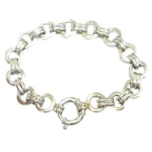Aaron Basha 18K White Gold Double Bar Open Link Large Bracelet