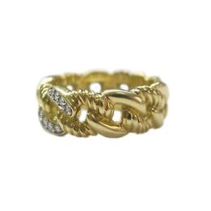 David Yurman 18K Yellow Gold Cable Diamond Ring