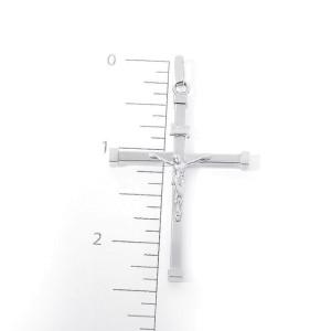 14K White Gold Cross Jesus Crucifix Pendant