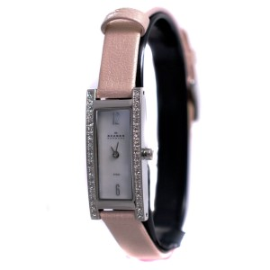 Skagen 266SSLLV1 Swarovski Crystal Pale Pink Leather Womens Watch