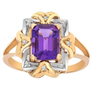 14K Yellow Gold 1.80 Ct Emerald Cut Amethyst and 0.08 Ct Round Cut Diamond Ring Size 6.5