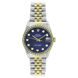 Rolex Datejust 16233 Steel & 18K Gold Blue Diamond Dial 1ct Diamond Bezel Mens 36mm Watch