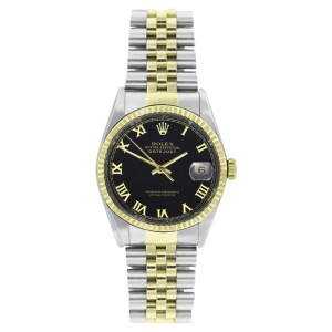 Rolex Datejust 16233 Steel & Gold Black Roman Dial 18K Gold Fluted Bezel Mens 36mm Watch