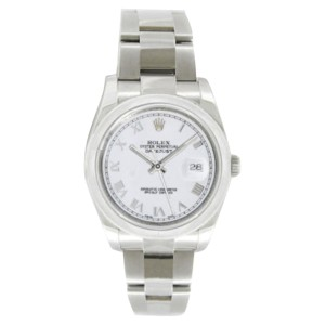 Rolex Datejust Oyster Steel 116200 White Roman Dial Smooth Bezel Mens 36mm Watch