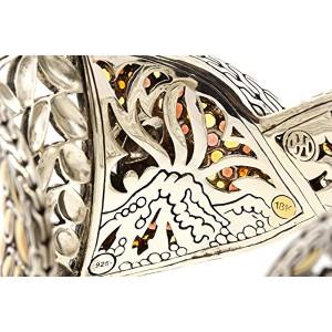John Hardy 18K Sterling Silver Large Batu Kawung Citrine Garnet Cuff Bracelet