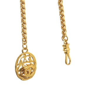 Chanel CC Gold Tone Metal Medallion Long Necklace