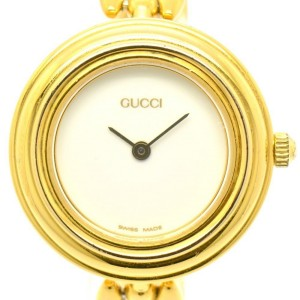 Gucci 11/12.2 Gold Plated White Dial Quartz 26mm Womens Watch