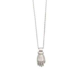 White Diamond Pave Hand Necklace