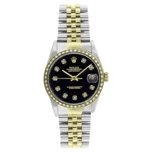 Rolex Steel & Gold Datejust 16233 Black Diamond Dial & 1CT Diamond Bezel Mens 36mm Watch