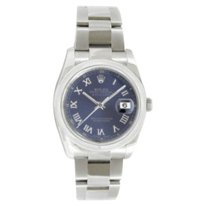 Rolex Datejust Oyster Steel 116200 Blue Roman Dial Smooth Bezel Mens 36mm Watch