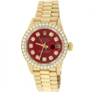 Rolex Datejust 18K Yellow Gold With Red Diamond Dial 26mm Womens Watch