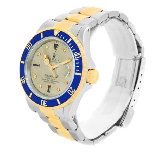 Rolex Submariner 16613 Stainless Steel and 18K Yellow Gold wDiamond & Sapphire Automatic 40mm Mens Watch